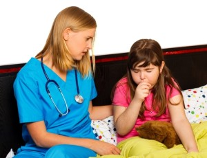 a child being treated for whooping cough disease